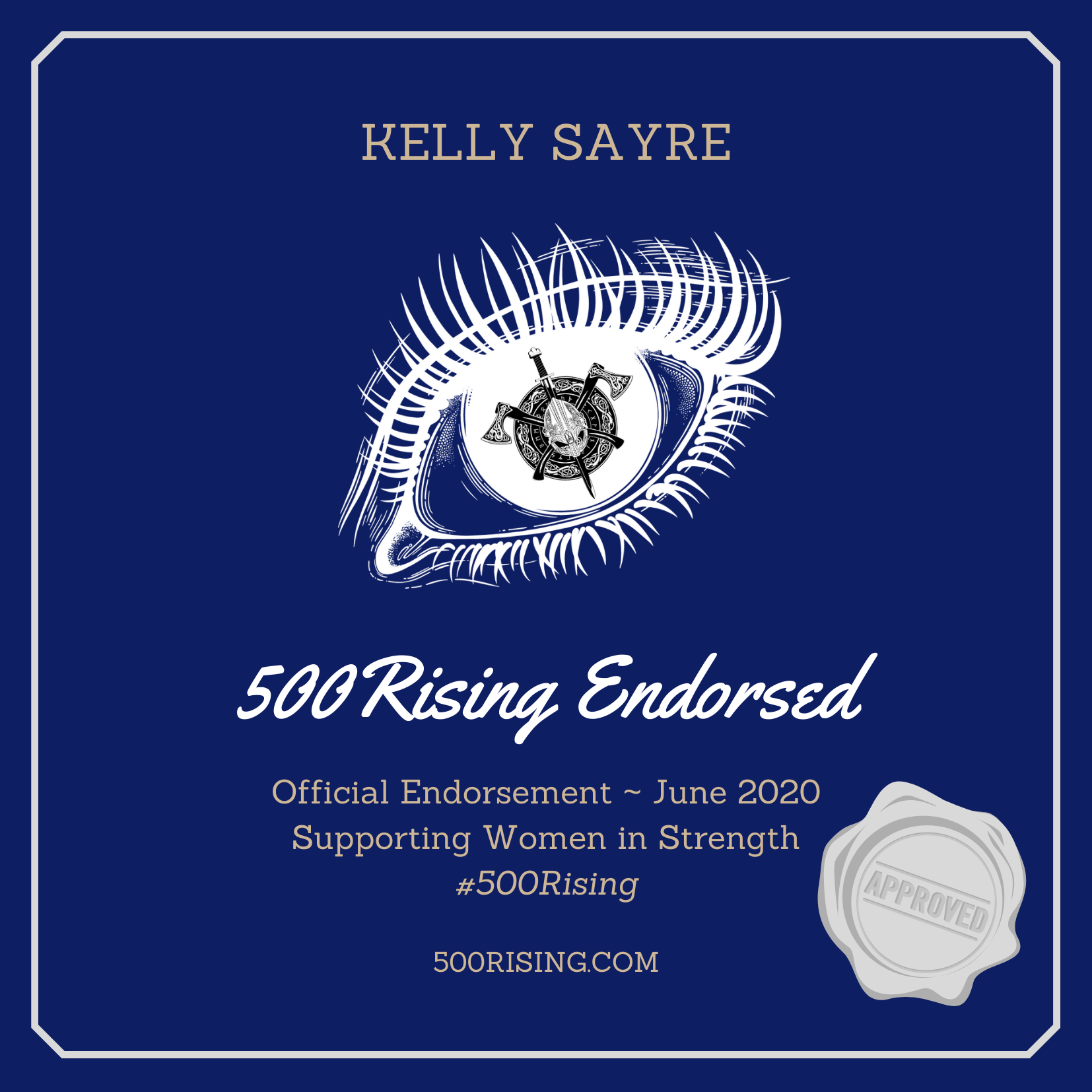 500 Rising endorsement seal for Kelly Sayre